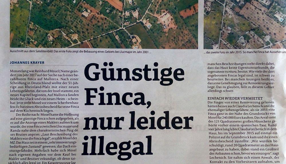 Beim Finca Kauf in der Gemeinde Llucmajor haben Deutsche bereits böse Überraschungen erlebt, berichtet die MZ.