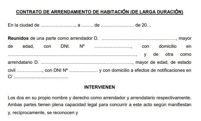 Muster eines spanischen Mietvertrages. Wie in Deutschland gibt es fertige Formulare.