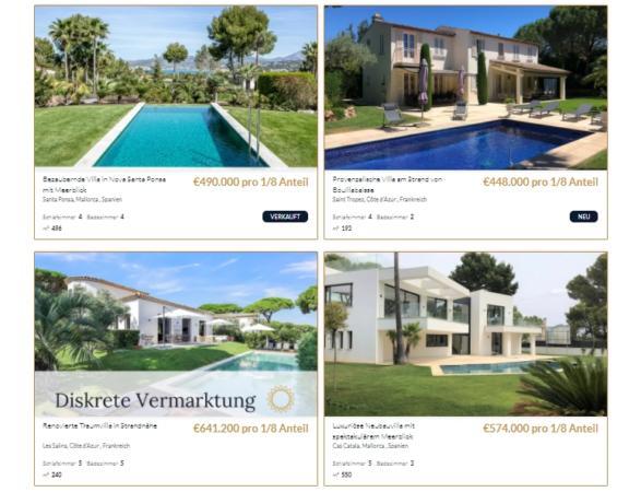 Neben Immobilien auf Mallorca bietet VillaCircle auch z.B. Immobilien in Frankreich zum Teil-Erwerb an, Schwerpunkt ist aber bislang Mallorca. Screenshot: VillaCircle